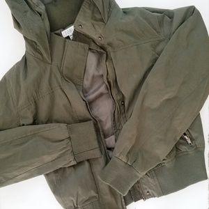 Tobi Olive Cropped Bomber Jacket